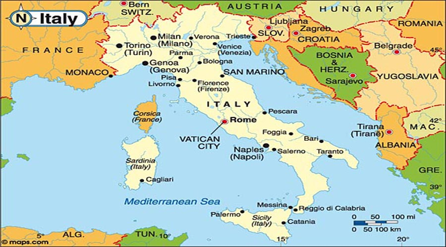 Map of Italy Hyderabad Overseas Consultants