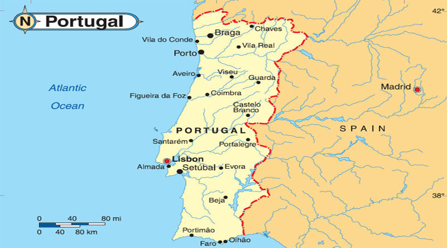 Map of Portugal   Hyderabad Overseas Consultants