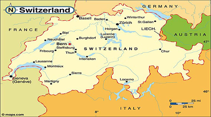 Map of Switzerland Hyderabad Overseas Consultants